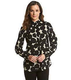 Anne Klein® Quarter Button Front Dot Print Tunic