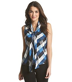 Nine West® Checkered Bow Blouse