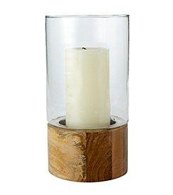 Ruff Hewn Wooden Hurricane Candle Holder