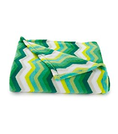 LivingQuarters Green Chevron Micro Cozy Throw