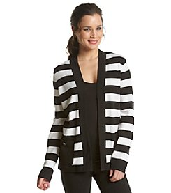 Jones New York Collection® Stripe Open Front Cardigan