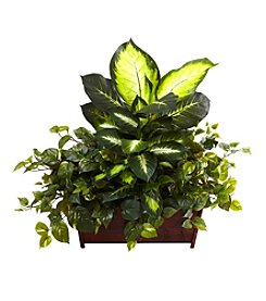 Nearly Natural® Golden Dieffenbachia, Philo and Pothos with Wood Planter