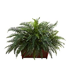 Nearly Natural® River Fern with Wood Planter