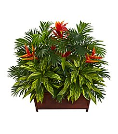 Nearly Natural® Tropical Garden with Wood Planter
