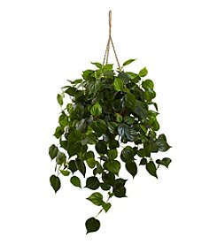 Nearly Natural® Indoor Outdoor Philodendron Hanging Basket UV Resistant