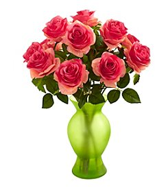 Nearly Natural® Roses with Green Glass Vase
