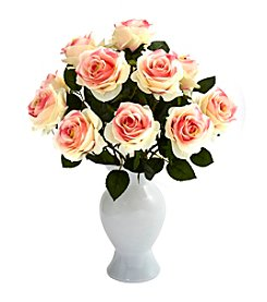 Nearly Natural® Roses with White Glass Vase
