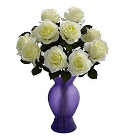 Nearly Natural® Roses with Purple Glass Vase