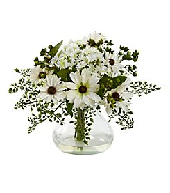 Nearly Natural® Mixed Daisy Arrangement with Vase