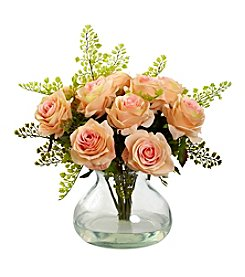Nearly Natural® Rose and Maiden Hair Arrangement with Vase