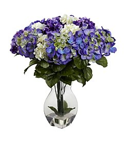 Nearly Natural® Mixed Hydrangea with Vase