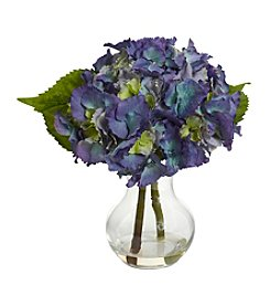 Nearly Natural® Blooming Hydrangea with Vase Arrangement