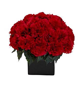 Nearly Natural® Carnation Arrangement with Black Vase