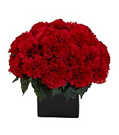 Nearly Natural® Carnation Arrangement with Black Vase