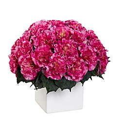 Nearly Natural® Carnation Arrangement with White Vase