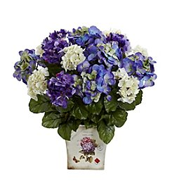Nearly Natural® Mixed Hydrangea with Floral Planter