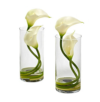 Nearly Natural® Set of Two Double Calla Lily with Cylind