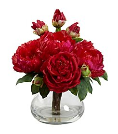 Nearly Natural® Peony and Rose with Vase