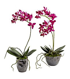 Nearly Natural® Set of Two Mini Phal with Metallic Vase