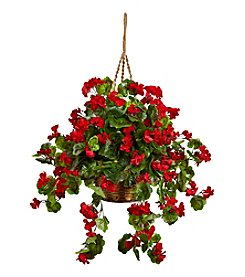 Nearly Natural® Indoor Outdoor Geranium Hanging Basket