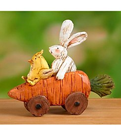 Transpac Art Bunny And Chick On A Carrot