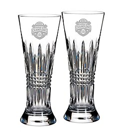 Waterford 2014 National College Football Champions Ohio State Buckeyes Set of 2 Lismore Diamond Pilsner Glasses