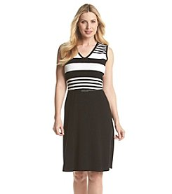 Jones New York® Striped Sleeveless Sweater Dress
