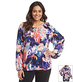 Spense® Plus Size Floral Printed Blouse