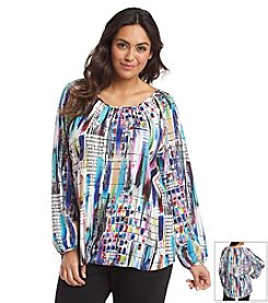 Spense® Plus Size Printed Blouse