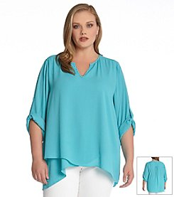 Karen Kane® Plus Size Asymmetrical Hem Wrap Top