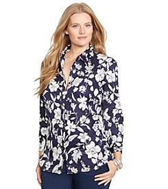 Lauren Ralph Lauren® Plus Size Floral-Print Sateen Shirt