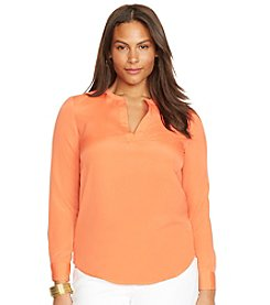 Lauren Ralph Lauren® Plus Size Color-Blocked Silk Shirt