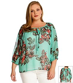 Karen Kane® Plus Size Printed Peasant Top