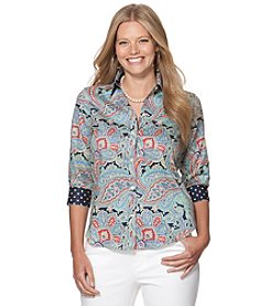 Chaps® Plus Size Paisley Dot Button Up Shirt