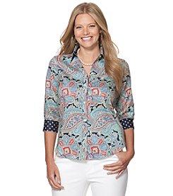 Chaps® Plus Size Paisley Dot Button Up Shirt