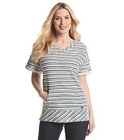 Gloria Vanderbilt® Sport V-Neck Short Sleeve Sweatshirt
