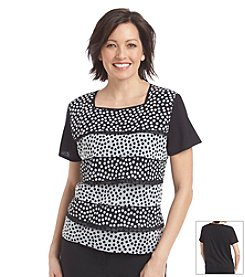 Alfred Dunner® Morocco Polka Dot Tiered Ruffle Knit Top