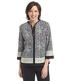 Alfred Dunner® Morocco Abstract Print Zip Up Jacket