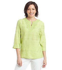 Alfred Dunner® Morocco Solid Textured Embellished Top
