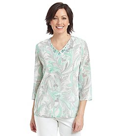 Alfred Dunner® High Tea Floral Leaf Print Tunic