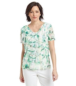Alfred Dunner® High Tea Watercolor Tiered Ruffle Knit Top