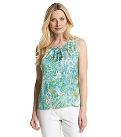 Notations® Paisley Print Pleated Tank