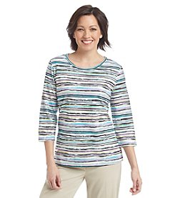 Breckenridge® Paradise Chic Striped Knit Crew Neck Tee