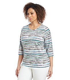 Breckenridge® Plus Size Paradise Chic Striped Knit Crew Neck Tee