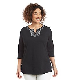 Breckenridge® Plus Size Paradise Chic Split Neck Decorated Tunic
