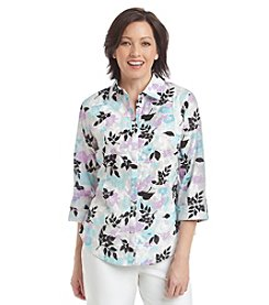Breckenridge® Paradise Chic Roll Cuff Woven Shirt