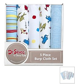 Trend Lab 5-Pack Dr. Seuss One Fish Two Fish Burp Cloth Bundle Box Set