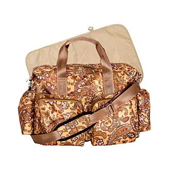 Trend Lab Paisley Brown Deluxe Duffle Diaper Bag