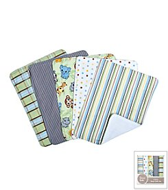 Trend Lab Chibi Zoo 5-Pack Burp Cloth Bundle Box Set