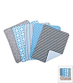 Trend Lab Logan 5-Pack Burp Cloth Bundle Box Set